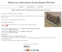 Three-Fold Checkbook Cover Sewing Pattern